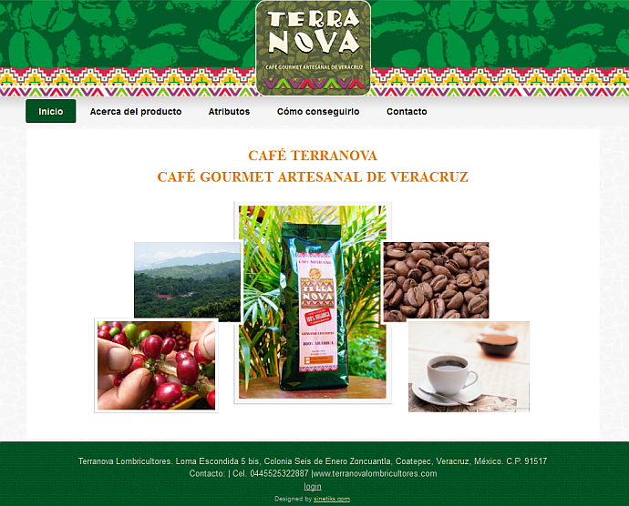 screenshot webpage cafe terranova