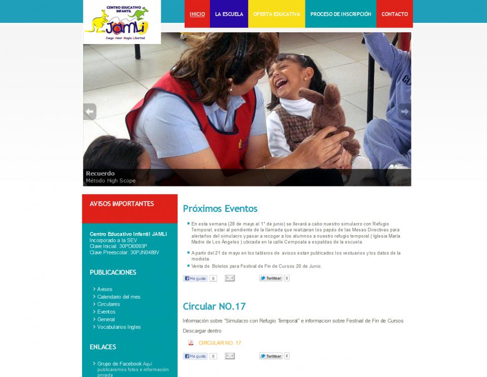 Screenshot página web escuelajamli
