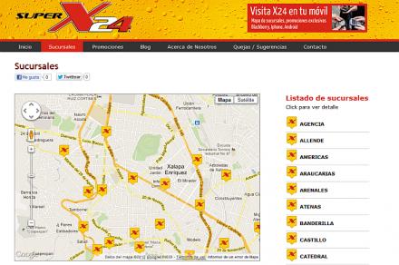 website x-24 mapa de sucursales